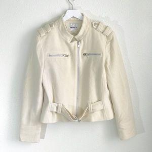 David N Cream Wool Cropped Utility Jacket